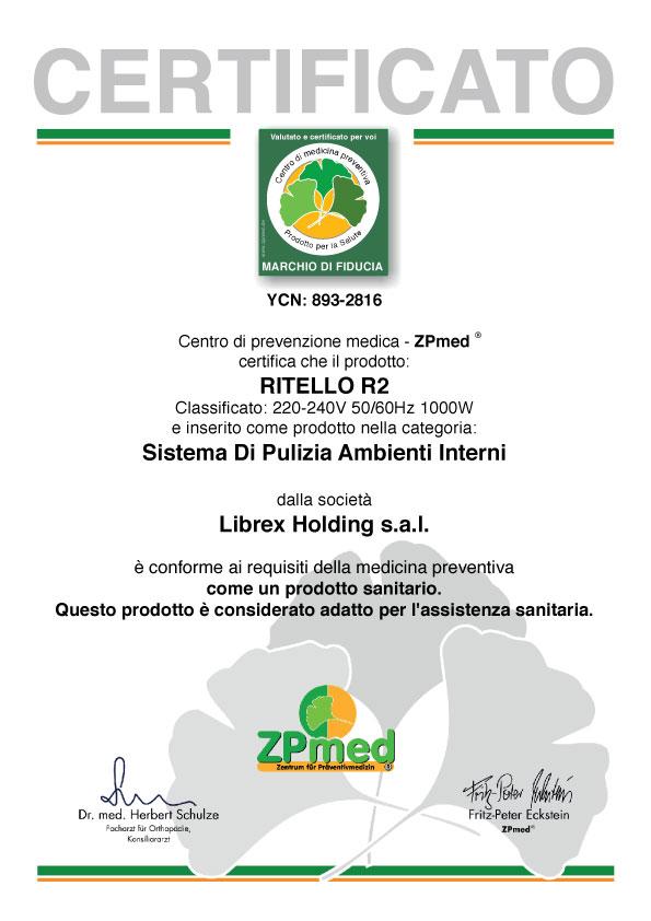 Certificato ottenuto da ZPmed in germania