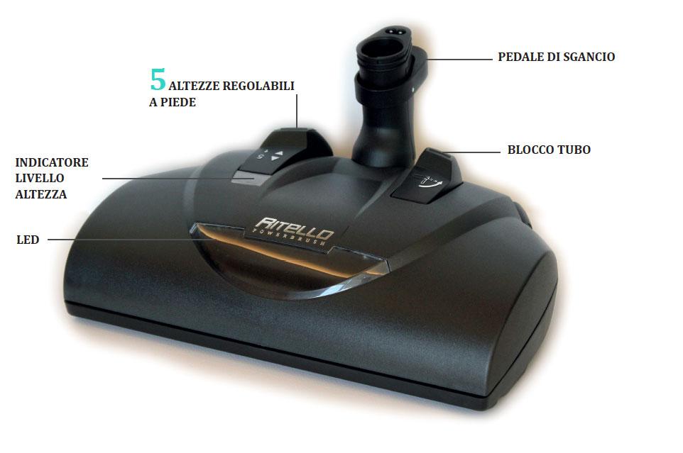 Elettrospazzola powerbrush: 5 regolazioni di altezza per soddisfare qualsiasi esigenza di pulizia, anche in superfici di grosso spessore.
